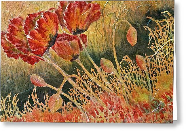 Windblown Poppies Greeting Card