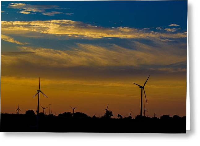 Windfarm Greeting Card by Drew Wing