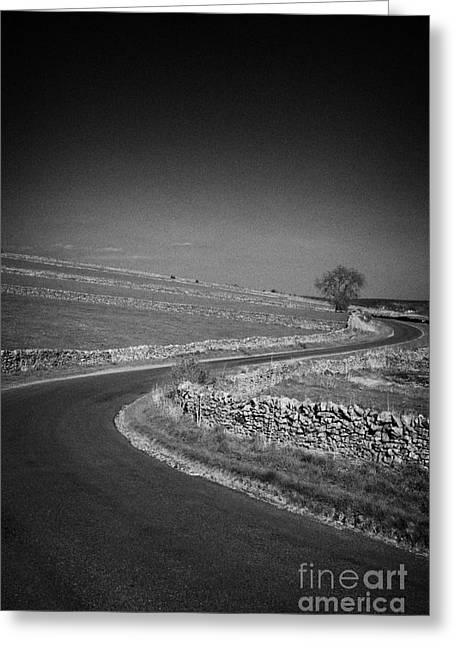 Winding B Road Through The Derbyshire Dales Peak District National Park In Derbyshire England Uk Greeting Card by Joe Fox
