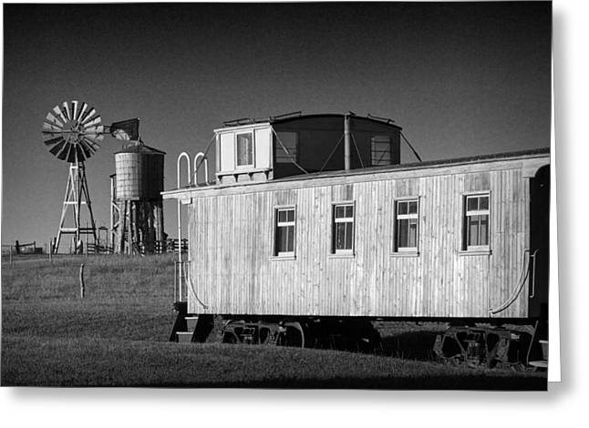 Windmill And Caboose From A Train In 1880's Town Greeting Card by Randall Nyhof