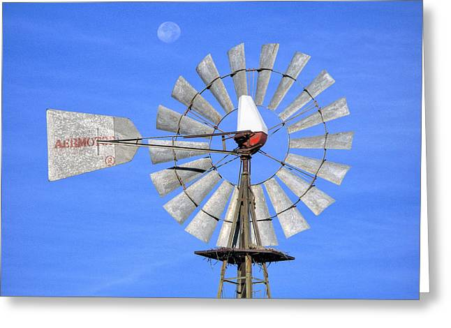 Windmill And Moon Greeting Card