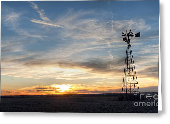 Windmill And Sunset Greeting Card