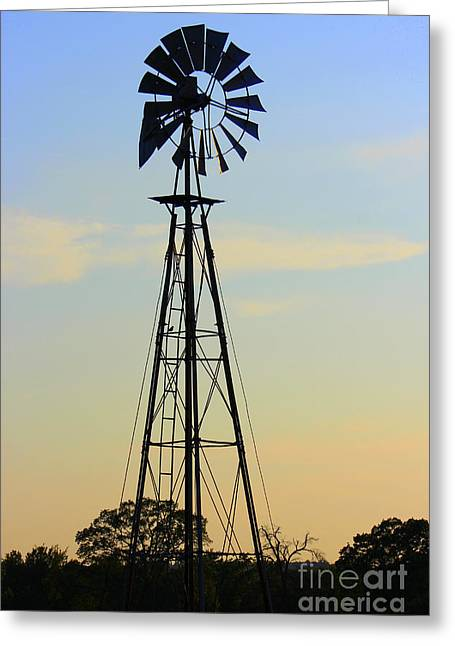Greeting Card featuring the photograph Windmill At Dusk by Kathy  White