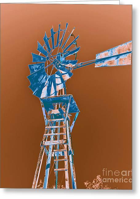 Windmill Blue Greeting Card by Rebecca Margraf