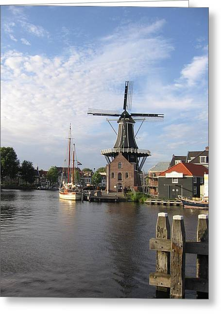 Greeting Card featuring the photograph Windmill In The Nederlands by Karen Molenaar Terrell