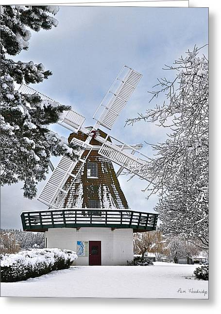 Windmill In The Winter Greeting Card by Pam Headridge