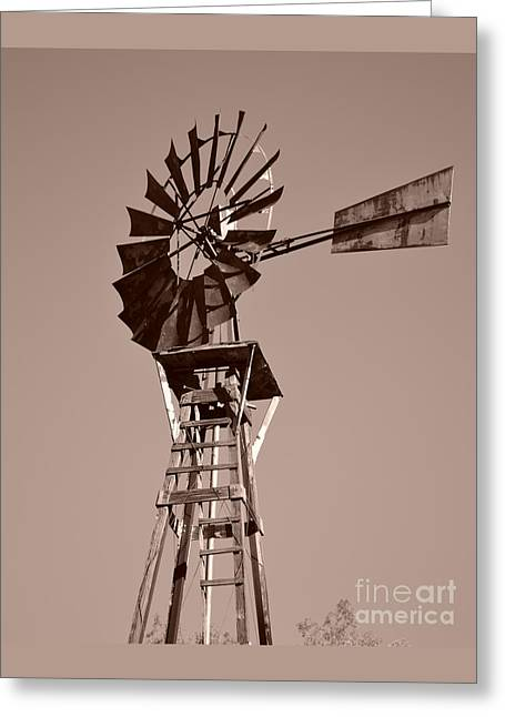 Windmill Sepia Greeting Card by Rebecca Margraf