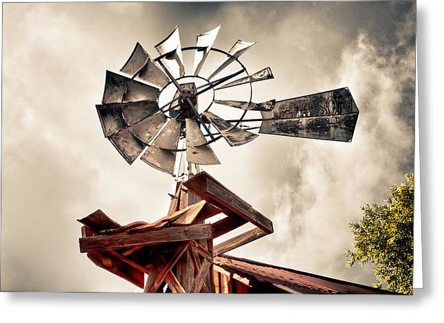 Windmill With Storm Approaching Greeting Card by James Bethanis