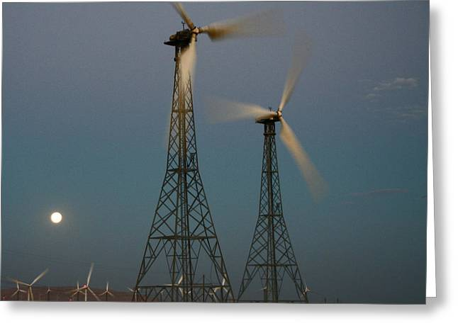 Windmills By Moonlight Greeting Card by James Mancini Heath