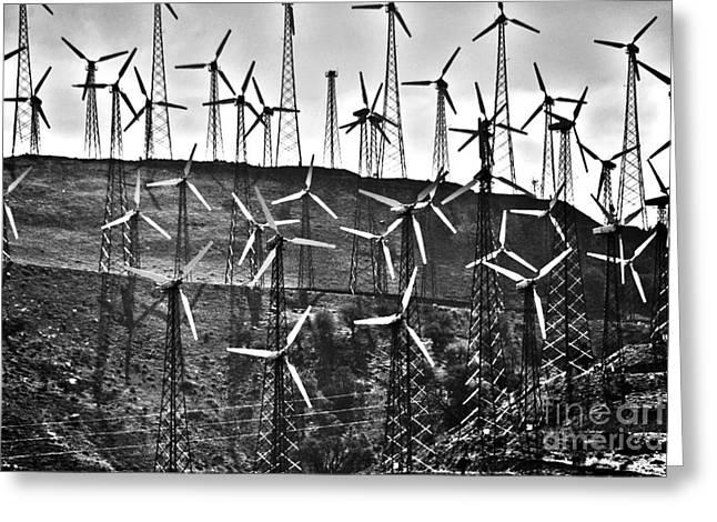 Windmills By Tehachapi  Greeting Card by Susanne Van Hulst