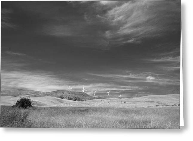 Greeting Card featuring the photograph Windmills In The Distant Hills by Kathleen Grace