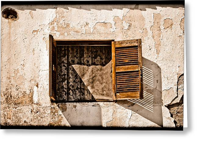 Hanioti, Greece - Window And Lace Greeting Card
