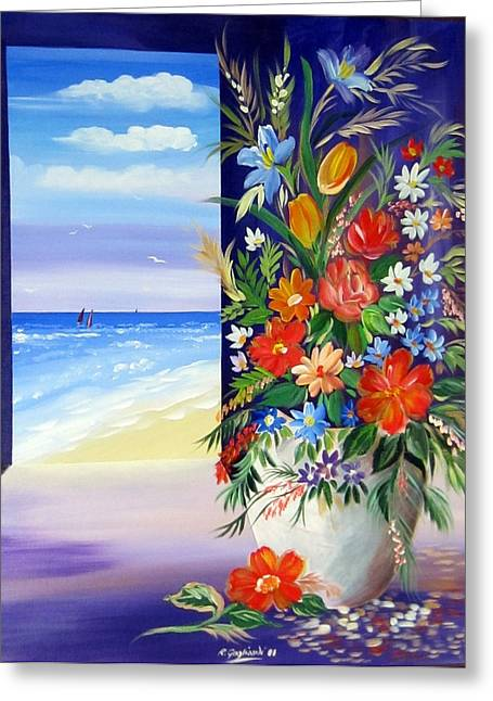 Greeting Card featuring the painting Window On The Beach by Roberto Gagliardi