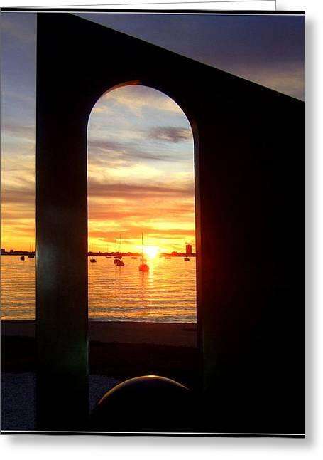 Window To The Bay Greeting Card by Satya Winkelman