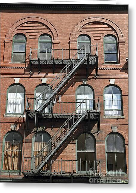 Windows And Fire Escapes Bangor Maine Architecture Greeting Card by John Van Decker