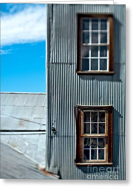 Windows In A Wall With Metal Siding Greeting Card