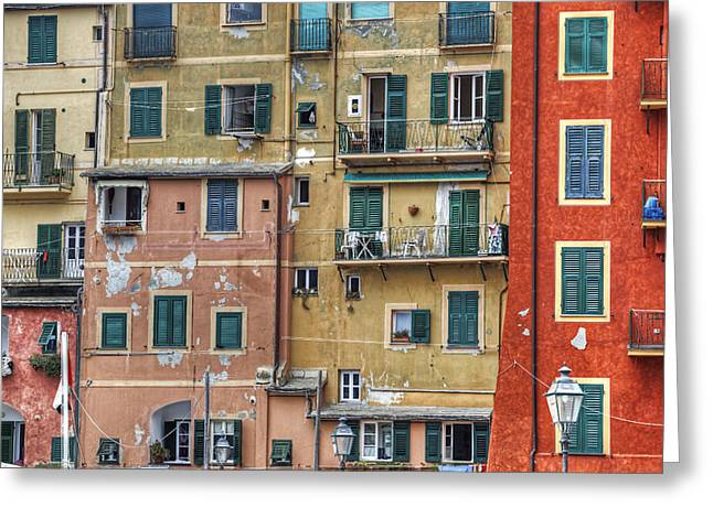 Windows Of Camogli Greeting Card by Joana Kruse