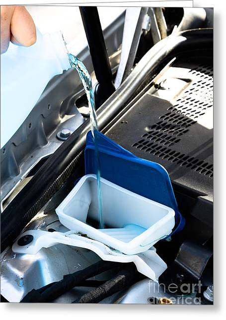 Windshield Cleaning Fluid Greeting Card by Photo Researchers