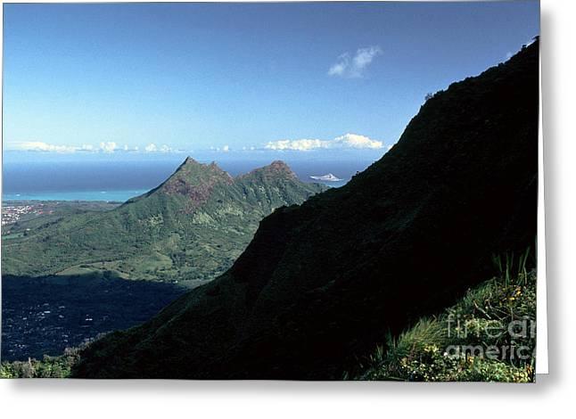 Windward Oahu From The Koolau Mountains Greeting Card by Thomas R Fletcher
