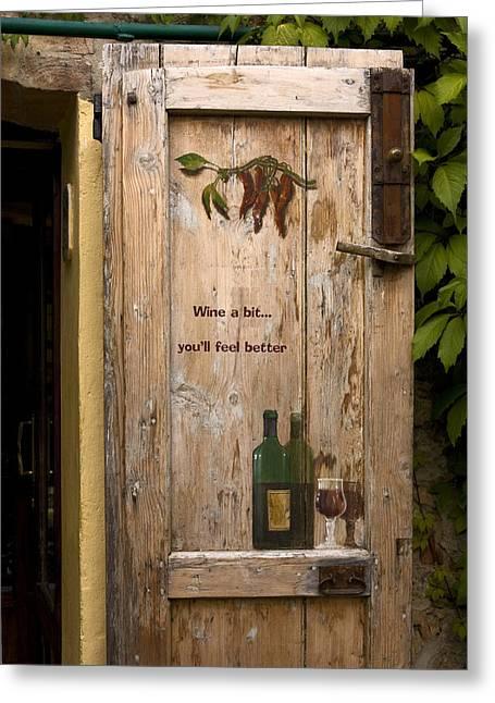 Wine A Bit Door Greeting Card