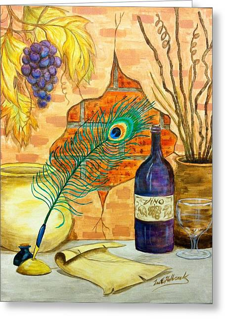 Wine And Feather Greeting Card by Lee Halbrook