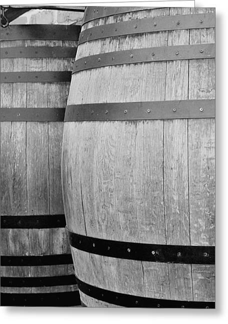 Wine Barrels Bw Greeting Card by Jenny Hudson