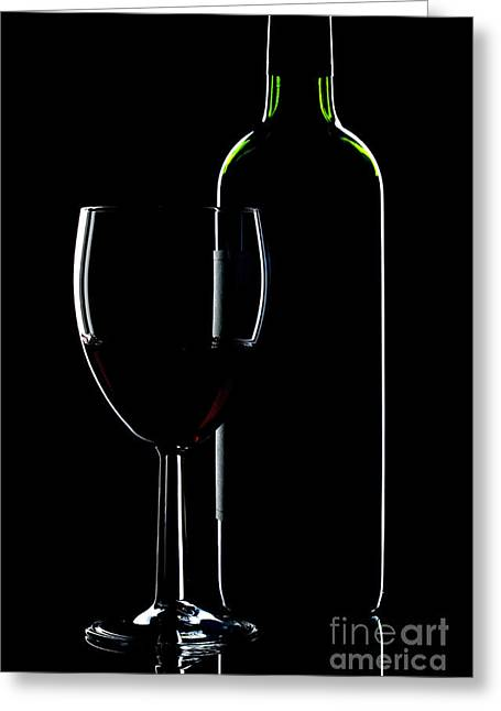 Wine Bottle And Glass Greeting Card by Richard Thomas