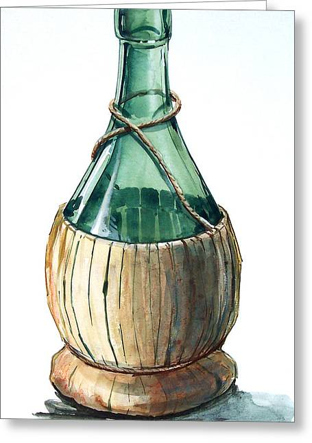 Wine Bottle Greeting Card by Olin  McKay
