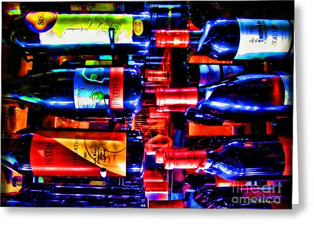 Wine Bottles Greeting Card by Joan  Minchak