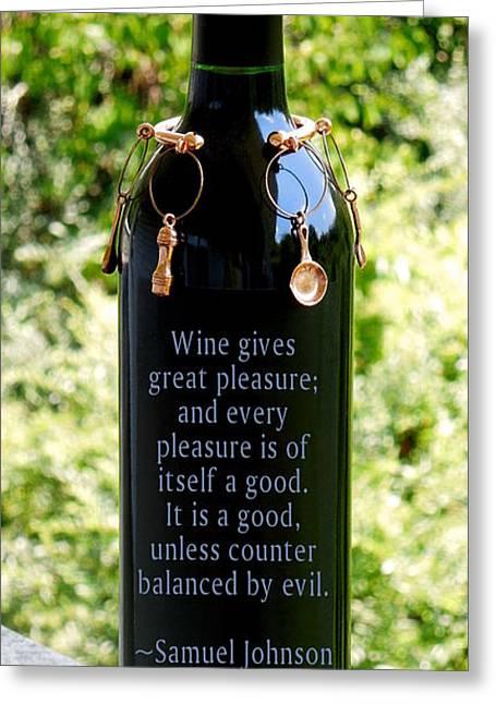 Wine Gives Great Pleasure Greeting Card by Renee Trenholm