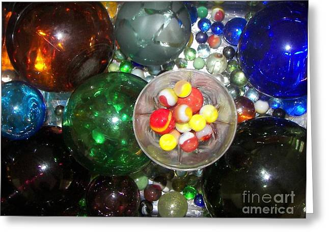Wine Glass And Marbles Greeting Card by Rachel Carmichael