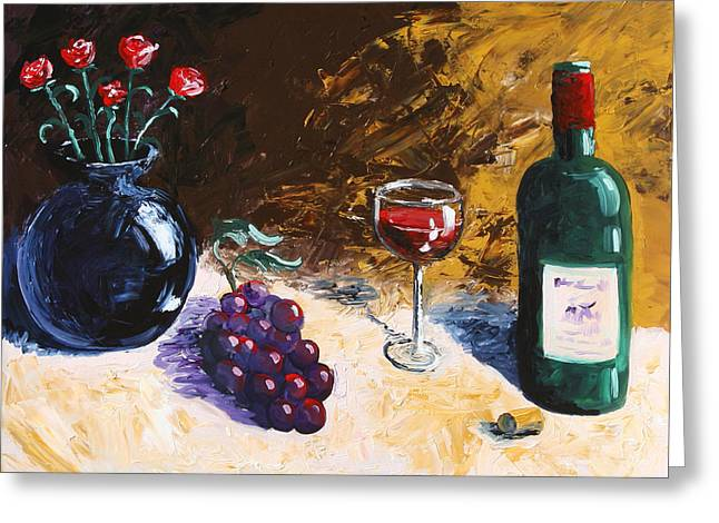 Greeting Card featuring the painting Wine Grapes And Roses Still Life Painting by Mark Webster