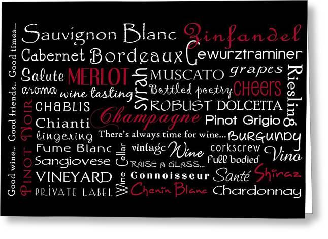 Wine Lovers Greeting Card by Jaime Friedman