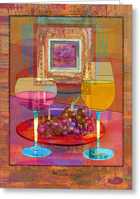 Wine Greeting Card by Mary Ogle