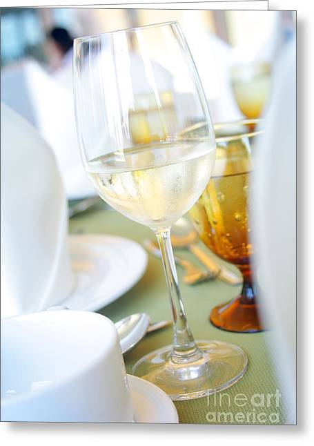 Wineglass Greeting Card by Atiketta Sangasaeng