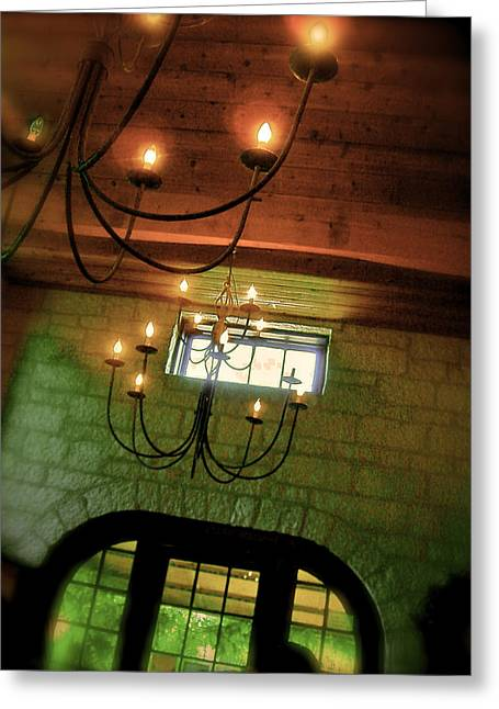 Winery Ceiling Greeting Card by Amber Hennessey