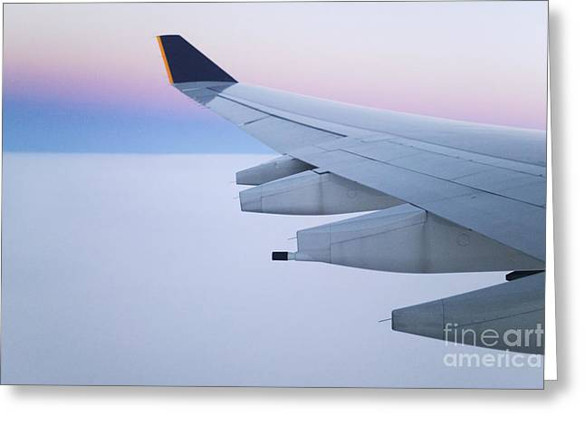 Wing And Engines Of Jet In Flight Greeting Card by Jeremy Woodhouse