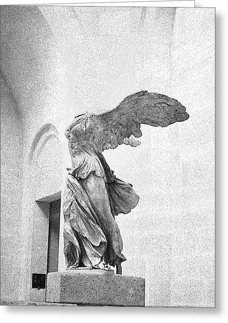 Greeting Card featuring the photograph Winged Victory Of Samothrace by Louis Nugent