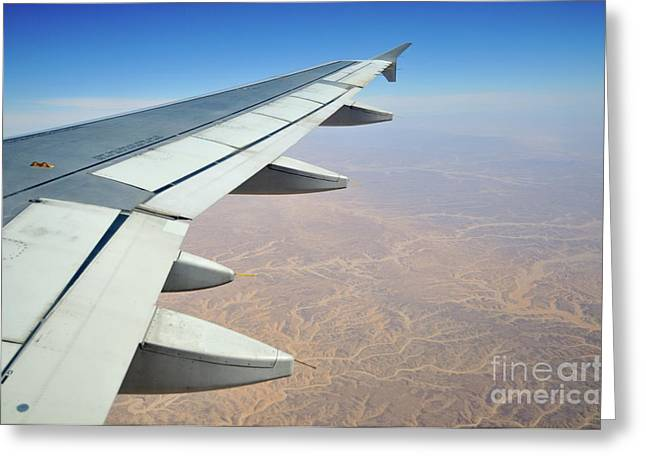 Wings Of Flying Airplane Greeting Card by Sami Sarkis