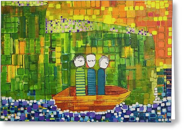 Greeting Card featuring the painting Wink Blink And Nod by Donna Howard