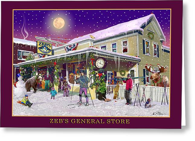 Winter At Zebs General Store In North Conway Nh Greeting Card