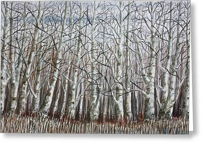 Winter Birch Grove Greeting Card by MB Matthews