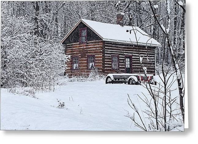 Greeting Card featuring the photograph Winter Cabin by Judy  Johnson