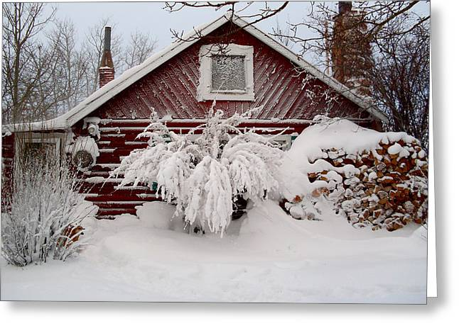 Winter Cabin  Greeting Card by Wesley Hahn