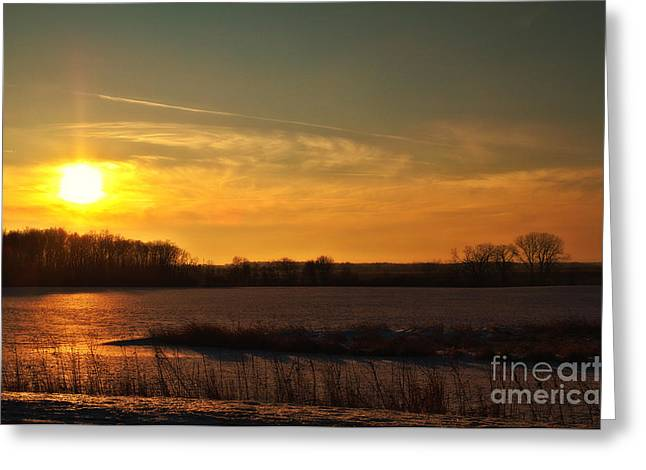 Winter Country Sunset Greeting Card by Joel Witmeyer