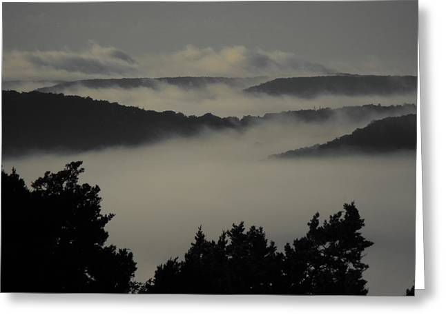 Winter Fog Mountains Greeting Card by Rebecca Cearley