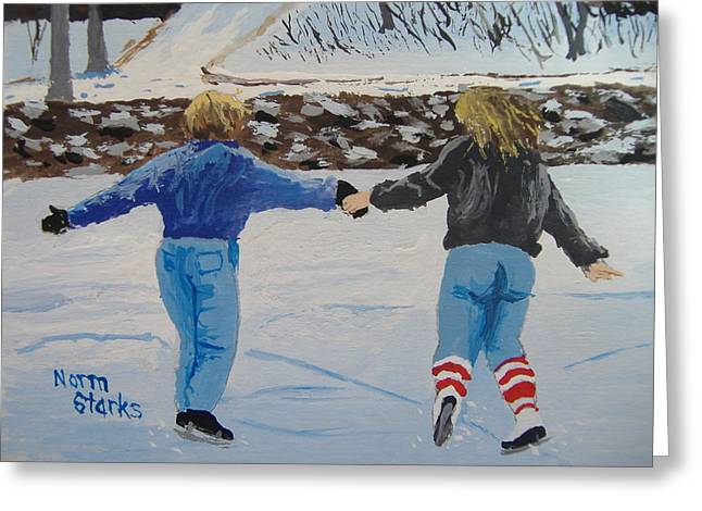 Greeting Card featuring the painting Winter Fun by Norm Starks