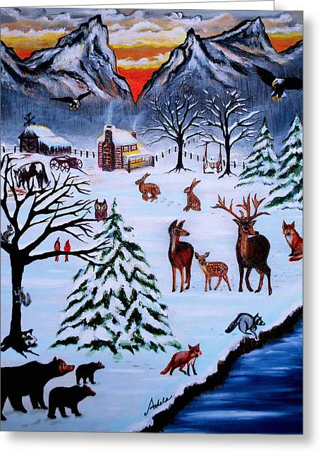 Winter Gathering Greeting Card by Adele Moscaritolo