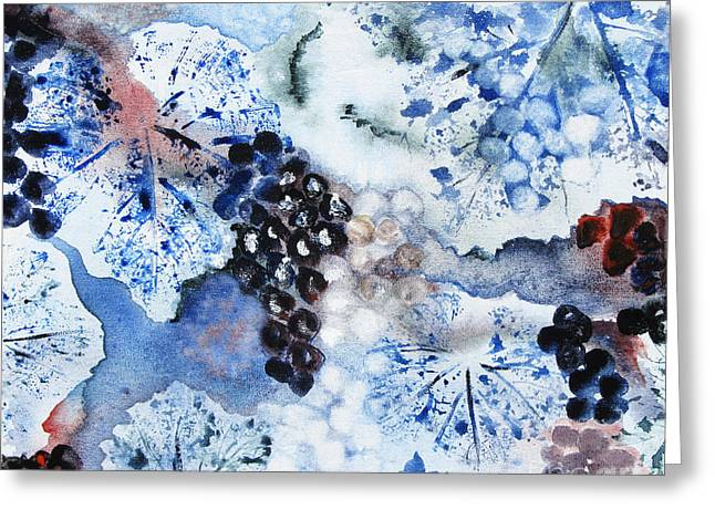 Greeting Card featuring the painting Winter Grapes IIi by Karen Fleschler