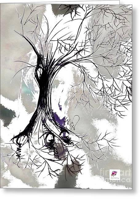 Winter Greenlake Tree Greeting Card by Carol Rashawnna Williams